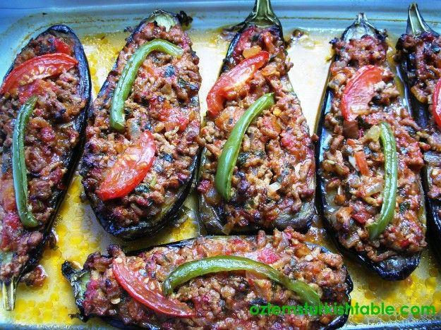 Stuffed Eggplants (Aubergines) with ground lamb, tomatoes and onions ...