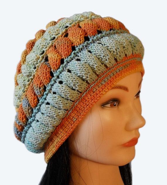 Hand knitted summer hat beret beanie braid