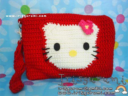 How To Crochet Hello Kitty Bag By Marifu6a Free Pattern Tutorial :  HELLO KITTY TUNISIAN CROCHET