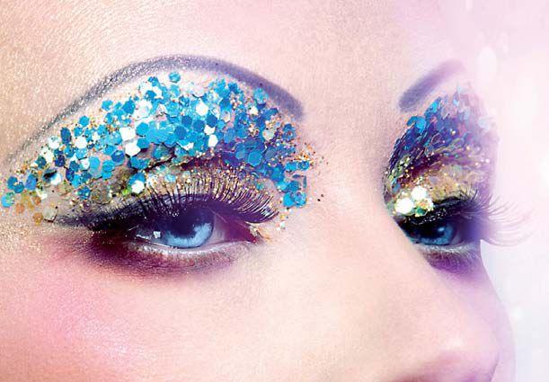 Rhinestone eye makeup