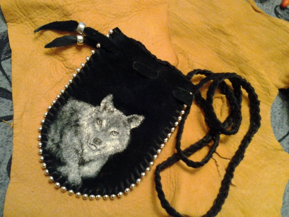 Mountain Wolf  Painted Leather Medicine Bag by earthwayspirit, $20.00