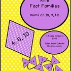 These kite fact families are perfect for an interactive bulletin board or centers board.  Sums for 10, 9, and 8. FREE!