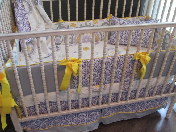 Goergie candy purple lavender gray and yellow custom baby bedding