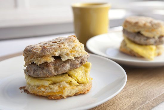 Cheddar biscuit with sausage and egg breakfast sandwiches! I just went ...
