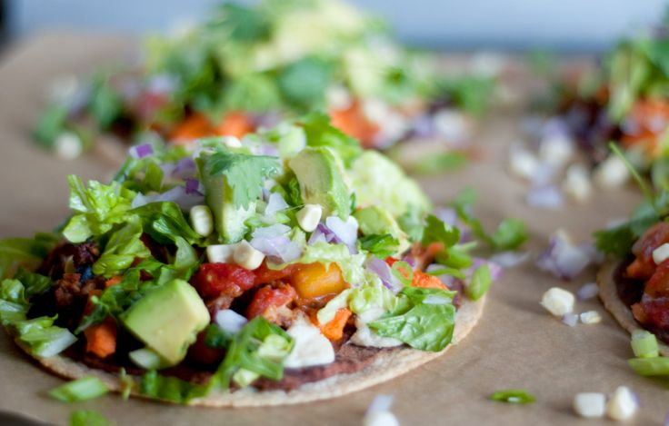 Mexican Tostada Pizzas. I use Ezekiel brand Tortillas - so yummy and ...