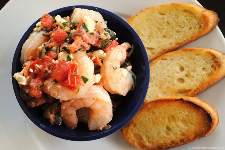 ... shrimp with olives, tomato, feta and capers. Serve with crunchy