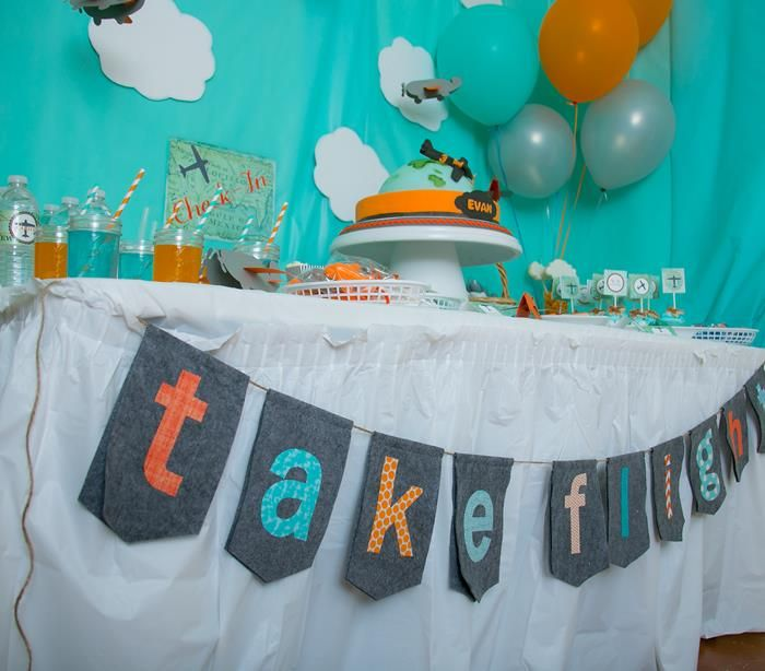 Airplane Themed Birthday Party Planning Ideas Supplies Aviator Idea ...