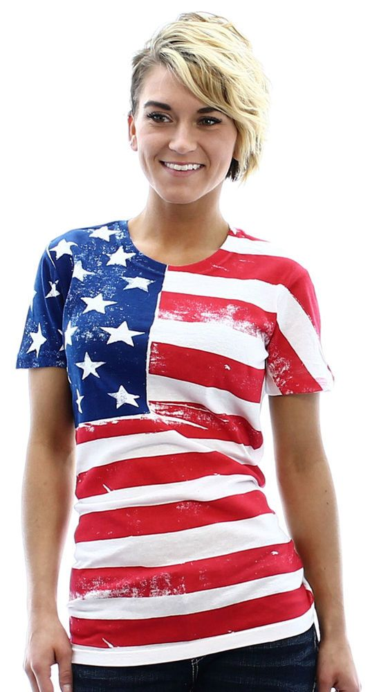 Moda Essentials American Flag Women 39 S Crewneck T Shirt Tee