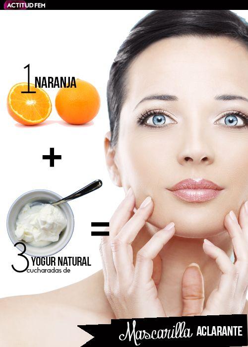 1 naranja + 3 cucharadas de yogurt natural = Mascarilla natural aclarante