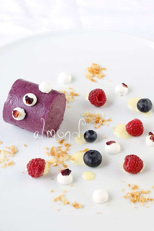 Almond Corner: Blueberry mousse with lime crème anglaise, rose petal ...