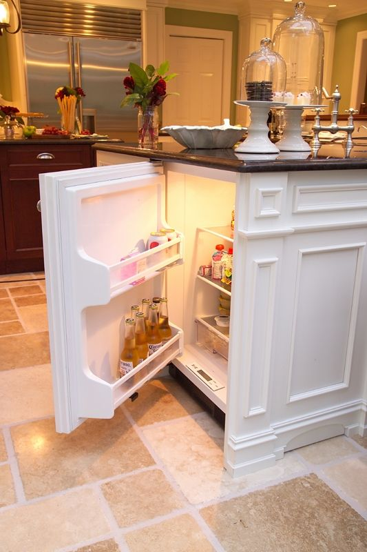 Mini-fridge in island for the kids..... what a great idea, will have to keep this in mind!!
