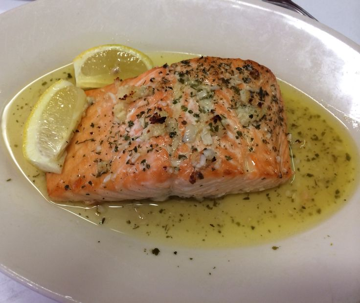 Bake #salmon in butter garlic and lemon sauce at Joe's Lobster House ...