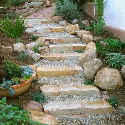 Gravel steps the great outdoors pinterest for Step up garden designs