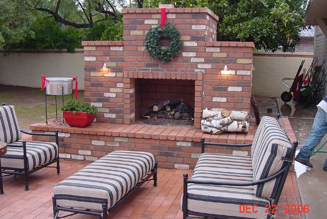 outdoor brick fireplace backyard projects to do this