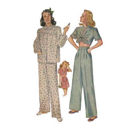 Vintage 1940s women s pajamas simplicity sewing pattern 2208 top
