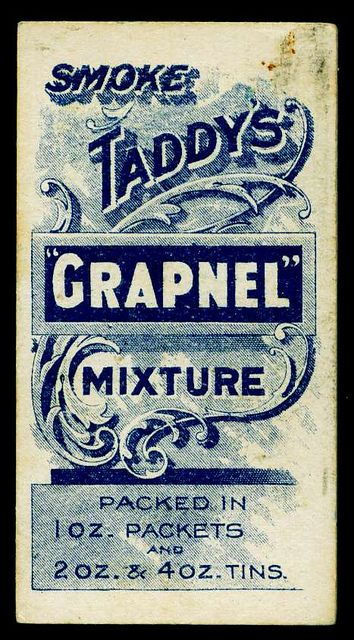 "Cigarette Card Back - Taddy's ""Grapnel"""