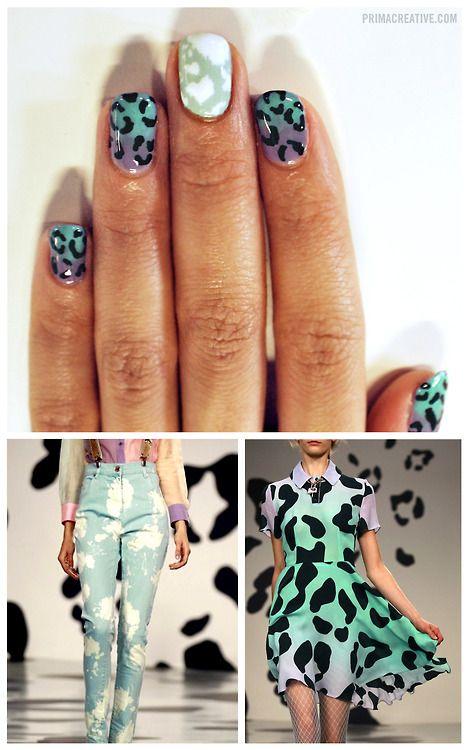 Ombre Leopard Print + Bleached Denim Manicure