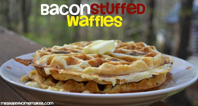 Brown Sugar Bacon Stuffed Waffles - as in actual whole strips of bacon ...