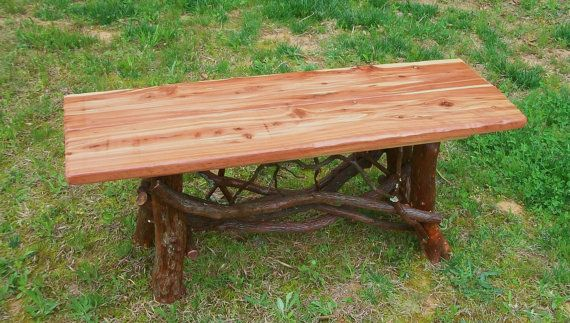 Rustic Handmade Mountain Laurel And Red Cedar Coffee Cocktail Table