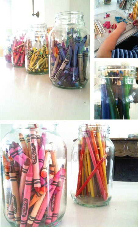 @joyababy, I took this right from your sweet blog...I saw this idea and had Savannah do it right away.  What a way to join my new obsession with Mason jars and my need for organization with all our art supplies!!