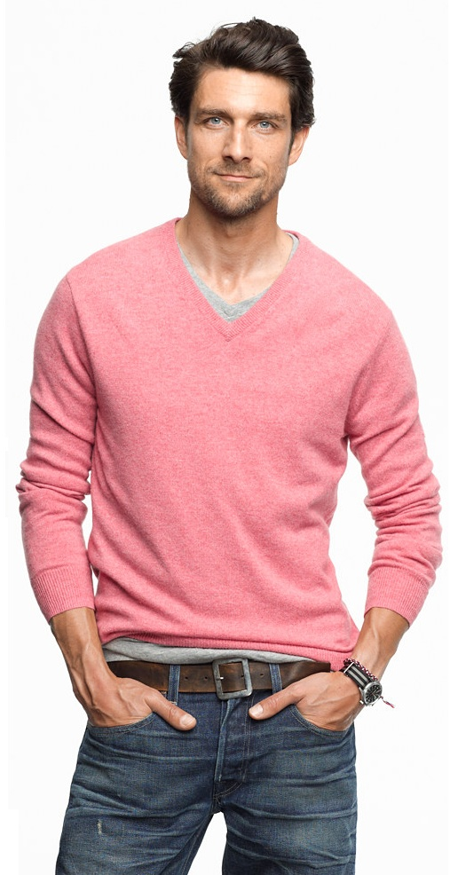 a Slim Cashmere V-neck sweater from jcrew, simple and pink