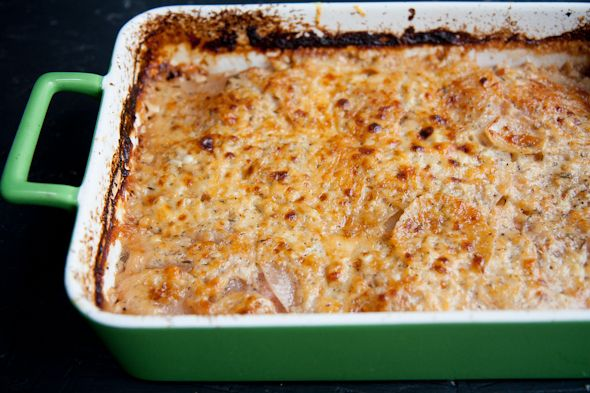 Turnip and Sweet Potato Gratin (parmesan cheese, cheddar cheese)