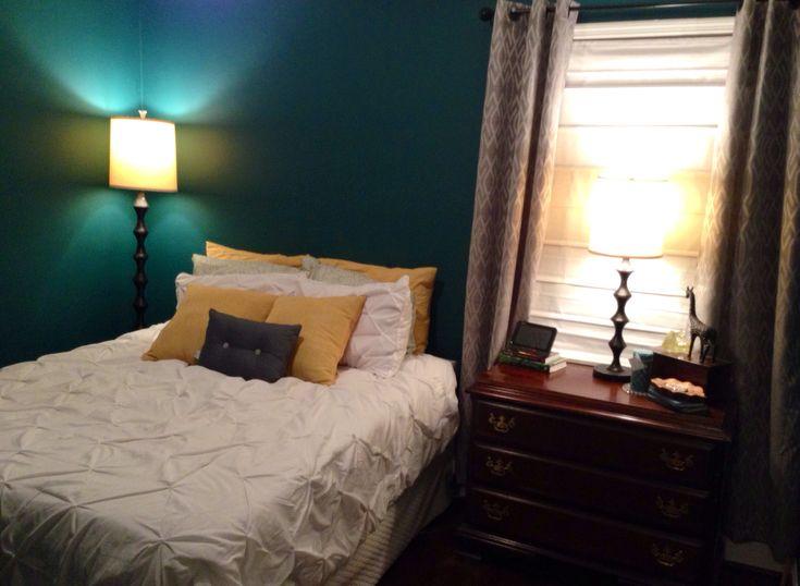 dark teal grey and yellow bedroom bedroom ideas pinterest. Black Bedroom Furniture Sets. Home Design Ideas