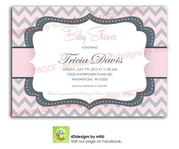 chevron pink and grey baby shower invitation by 4ddesignsbymitzi 18