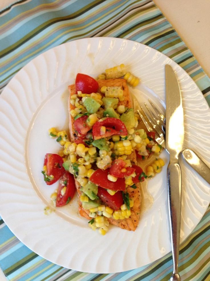 Cajun salmon with corn, tomato and avocado salsa