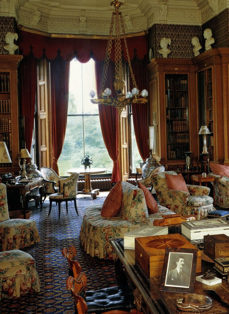 english country house style library interiors living