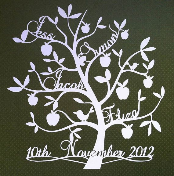 Unique personalised paper cut family tree 'apples by DinkyThings, £45 ...
