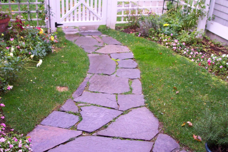 Stone walkway with grass joints walkway pinterest for Stone path in grass