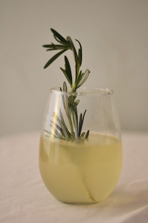 Woodsy and refreshing: Lemon and rosemary champagne cocktail.