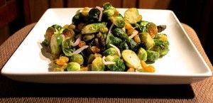Brussel Sprouts with Bacon and Golden Raisins - SO SO GOOD