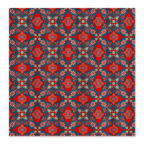 Vintage Red And Teal Shower Curtain On