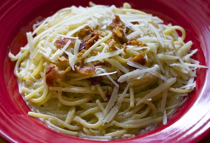 Spaghetti carbonara~ crisp bacon, sautéed onions, and white wine ...