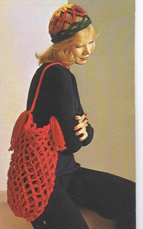 Bucket Bag Crochet Pattern : 70s crochet bucket bag pattern yarn Pinterest