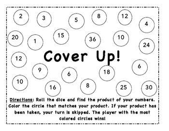 multiplication cover up dice game education pinterest. Black Bedroom Furniture Sets. Home Design Ideas