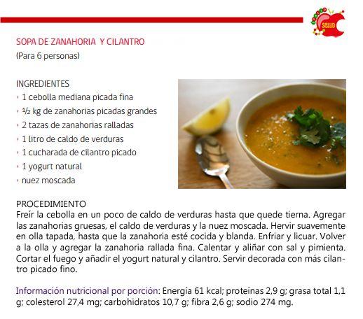 Cenas sin calorías - 4 ideas de sopas ligeras - Sopa de zanahoria y cilantro