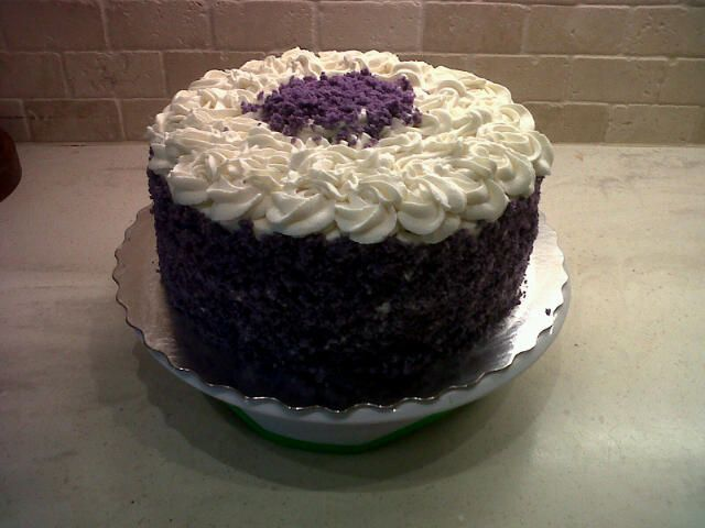 "Purple Yam(popularly known ""ube"" in Philippines) Chiffon Cake frost..."