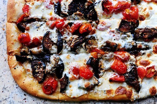 PW's favorite pizza recipe -- eggplant, tomato, garlic, mozza ...
