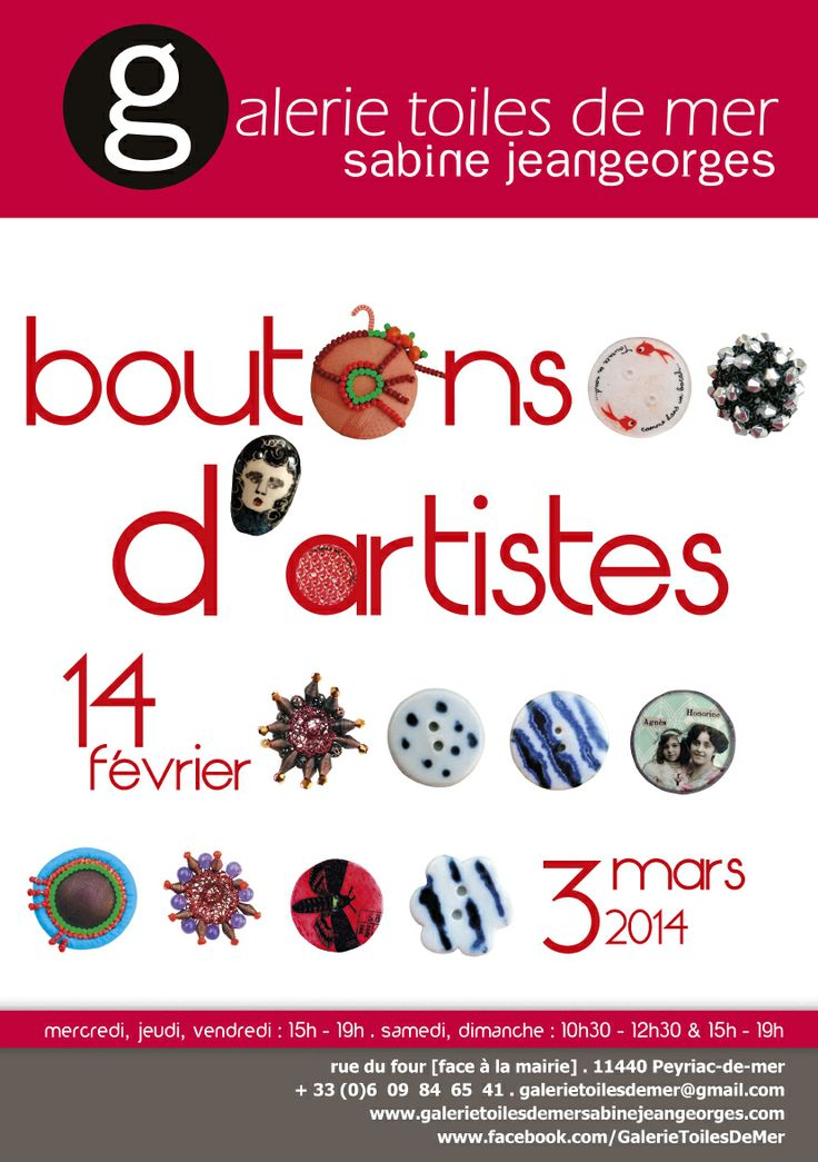 """Boutons d'artistes"" Galerie Toiles de mer Sabine Jeangeorges www.galerietoilesdemersabinejeangeorges.com tel: 06 09 84 65 41"