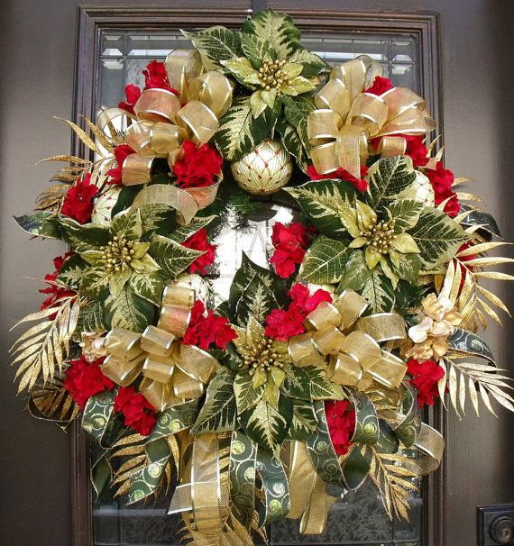 Poinsettia christmas wreath holiday wreaths red green for 5ft poinsettia garland christmas decoration