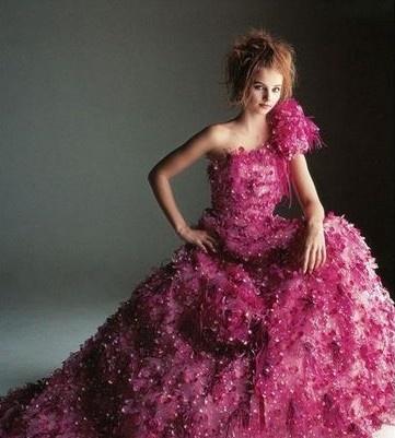 Red floral wedding dress