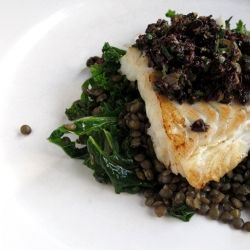 Pan fried cod on nutty puy lentils, heart-healthy kale and topped with ...