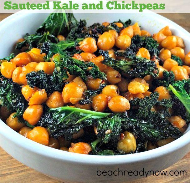 Sauteed Kale and Spicy Chickpeas #BeachReadyNow #Vegetarian #Vegan # ...