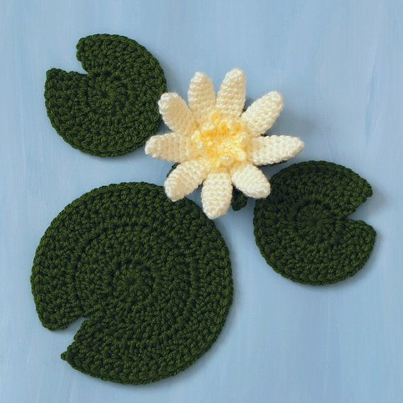 Water Lily flower and leaves PDF CROCHET PATTERN