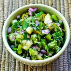 Tomatillo Salsa with Roasted Green Chiles, Cilantro, and Lime Recipe
