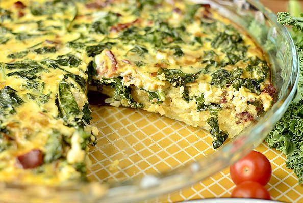 Kale and Bacon Quiche with Hash Brown Crust | iowagirleats.com But I ...