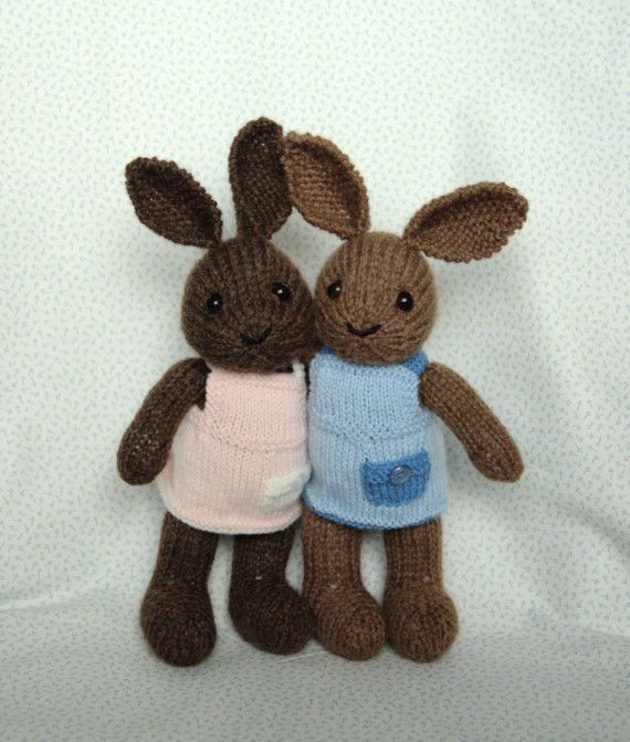 Hat Patterns For Knitting : Knitting Pattern - Bunny with Dress - PDF file